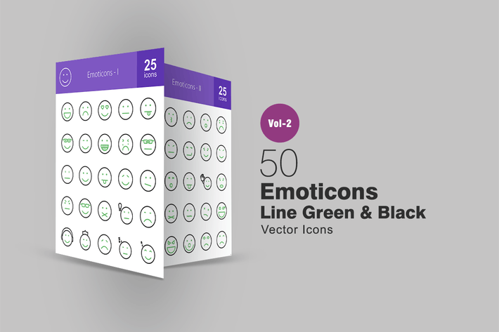 Thumbnail for 50 Emoticons Line Green & Black Icons
