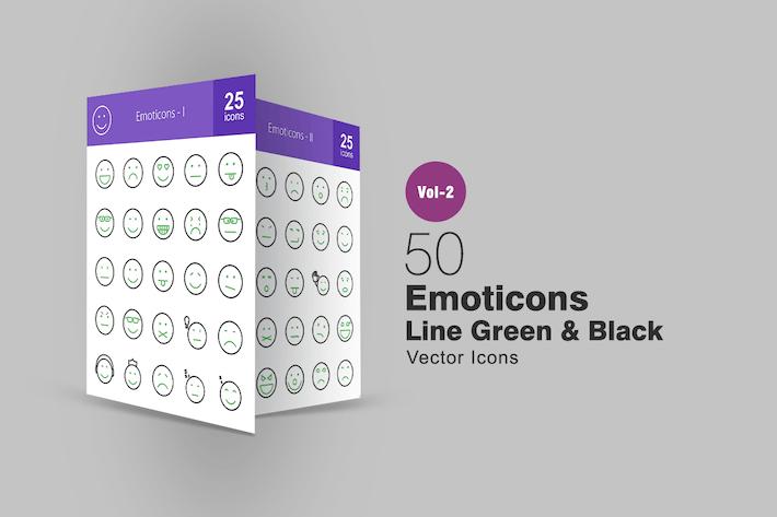 Thumbnail for 50 Emoticonos de línea verde y negro Íconos