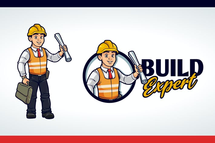 Thumbnail for Cartoon Friendly Contractor Mascot Character Logo