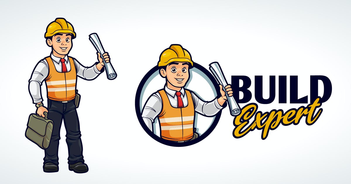 Download Cartoon Friendly Contractor Mascot Character Logo by Suhandi