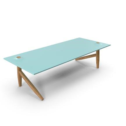 Schreibtisch Holz und Glas