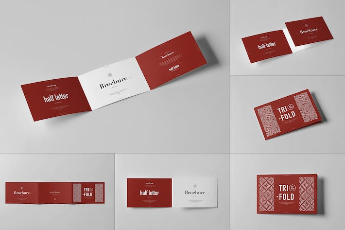 Tri-Fold Half Letter Horizontal Brochure Mock-up