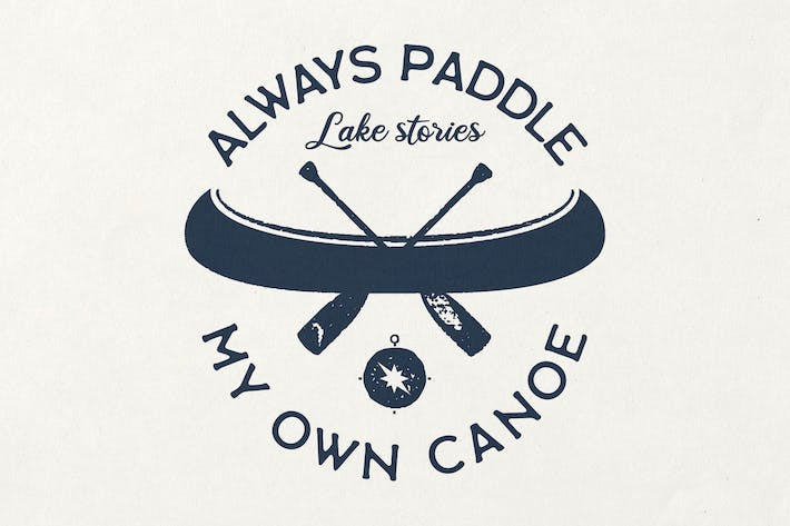 Thumbnail for Retro Canoe T-Shirt Design with Adventure Quote