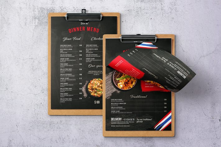 Thumbnail for Thai Cuisine A4 & US Letter Single Page Menu