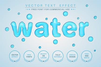 Вода - редактируемый текстовый эффект, стиль шрифта