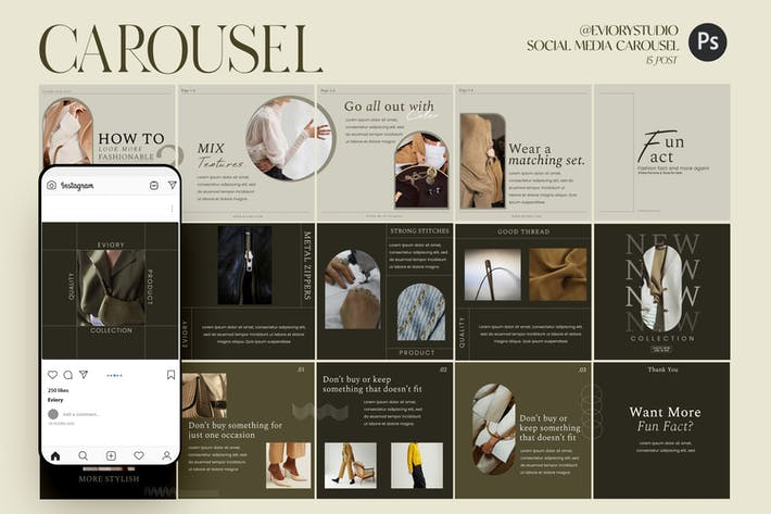 Thumbnail for Fashion - Carousel Templates Instagram