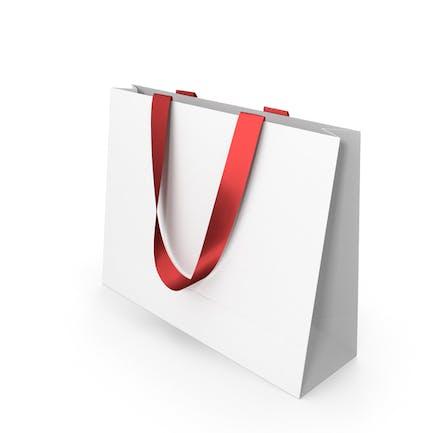 Белая бумажная сумка с красными ручками