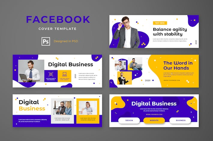 Thumbnail for Facebook Cover Template Digital Business