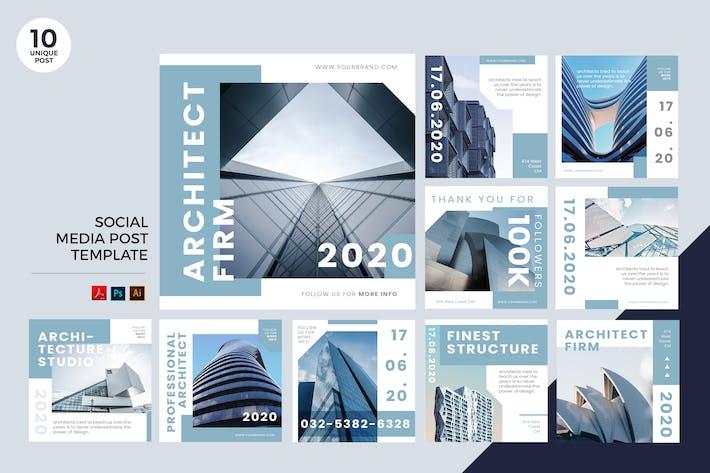 Thumbnail for Kit de médias sociaux Architecture PSD & AI