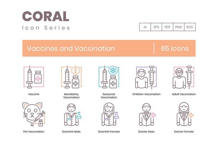 Thumbnail for 65 Vaccines and Vaccination Icons - Coral Series