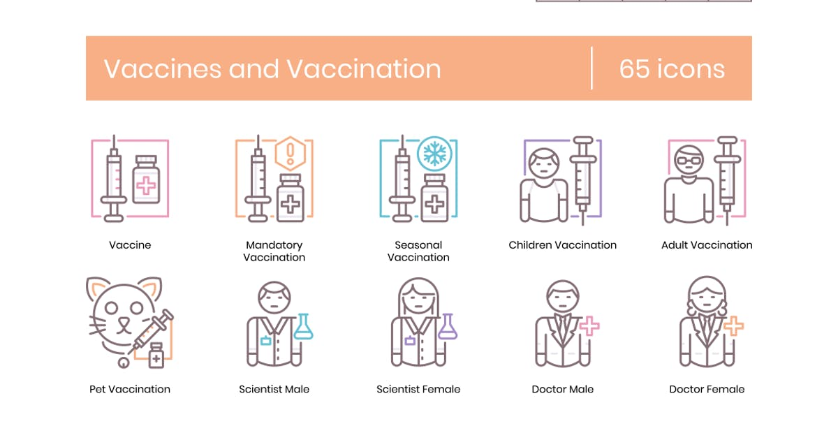 Download 65 Vaccines and Vaccination Icons - Coral Series by Krafted