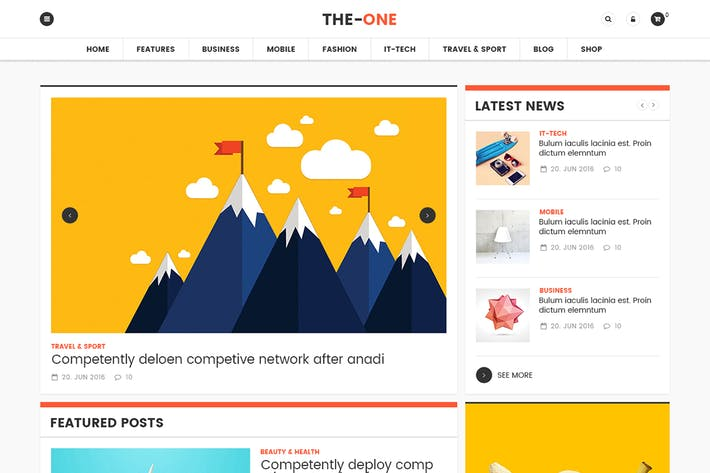 Thumbnail for The One News Magazine Blog - Responsive WordPress