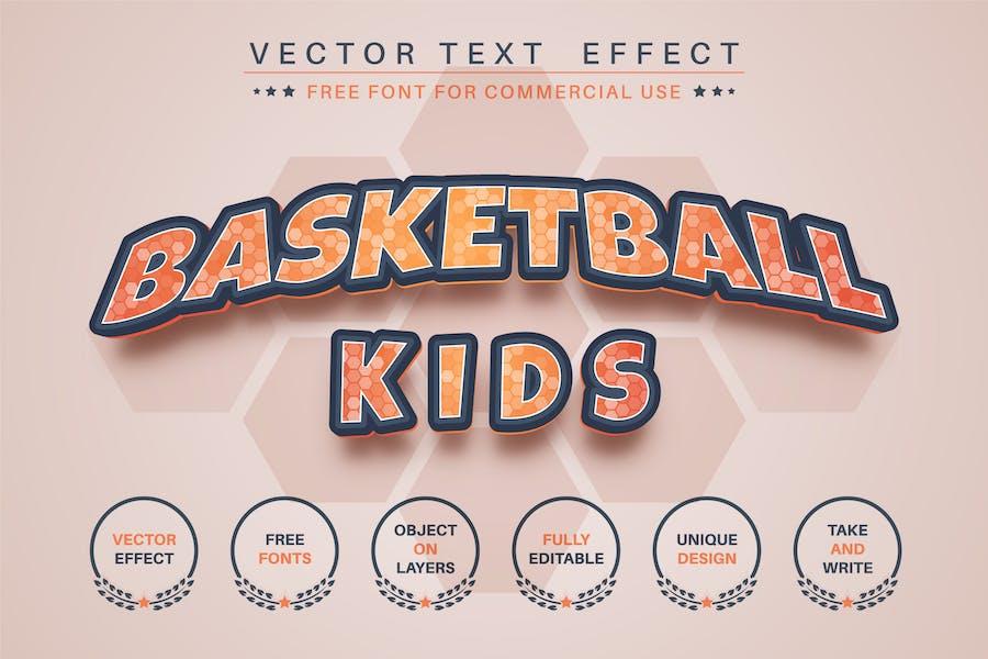 Basketball kids - editable text effect, font style