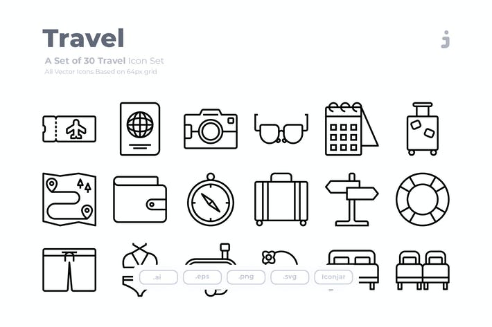 Thumbnail for 30 Travel Icons - Outliner