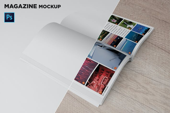 Magazine Mockup 45 Degree