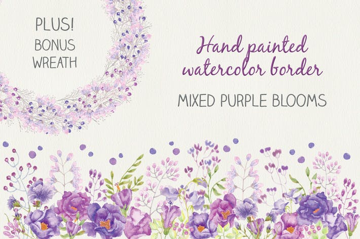 Thumbnail for Watercolor Border in Mixed Purple Blooms