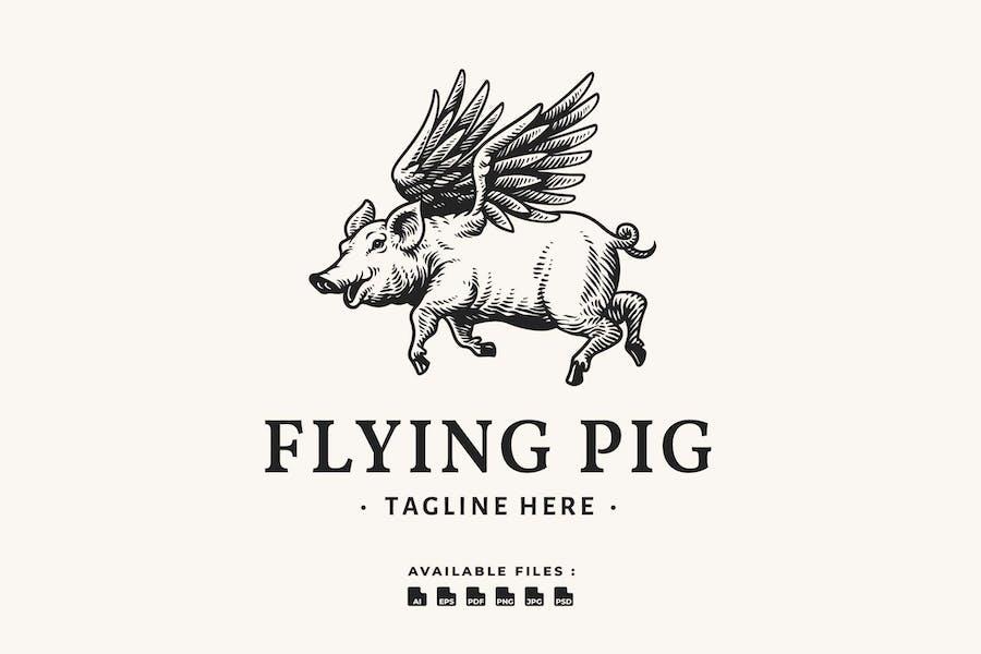 Flying Pig Handrawn Logo