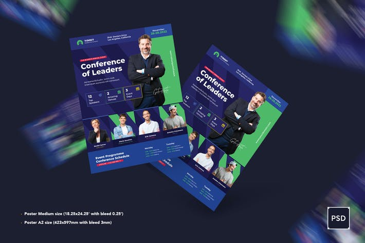 Thumbnail for Modèle d'affiche de conférence PSD