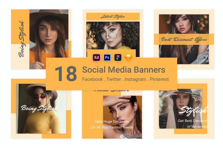 Thumbnail for 18 Social Media Banners Kit (Vol. 3)