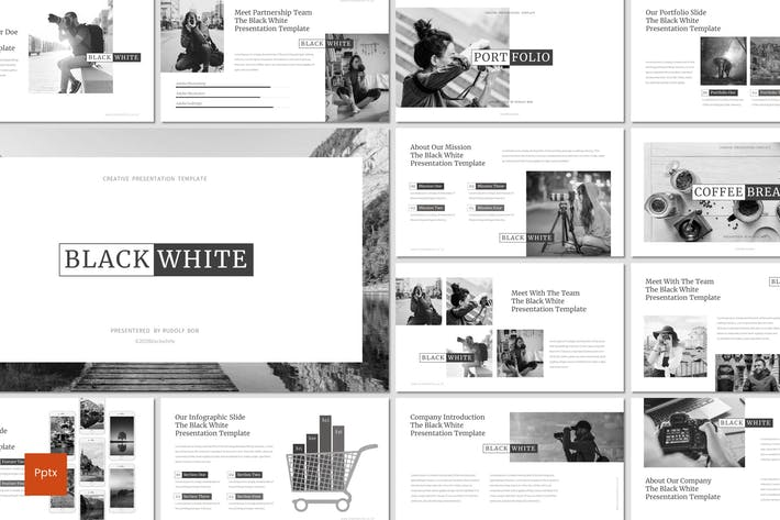 Thumbnail for Black and White - Powerpoint Template