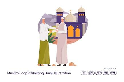Illustration de la main du peuple musulman