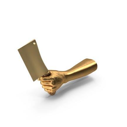 Goldene Hand hält ein Goldenes Hackbeil