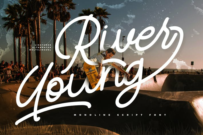 Thumbnail for River Young | Monoline Schrift