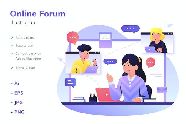 Online Forum Illustration