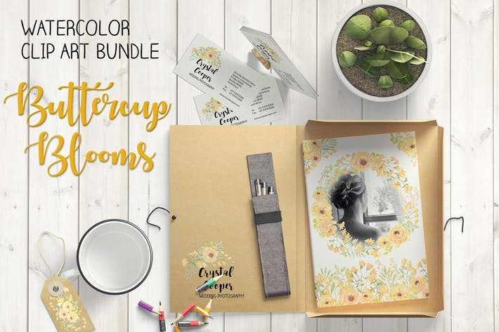 Thumbnail for Buttercup Blooms Watercolor Clip Art Bundle