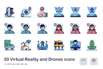 Virtual reality detailed filled outline icons