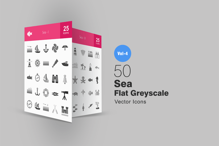 Thumbnail for 50 Sea Greyscale Icons