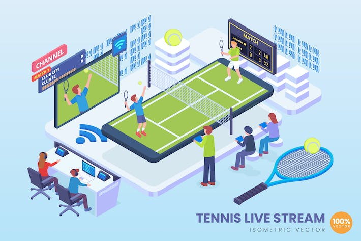 Thumbnail for Isometric Tennis Live Streaming Vector Concept