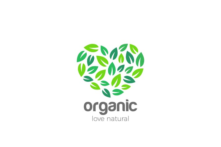 Thumbnail for Logo Organic Leaves Heart shape