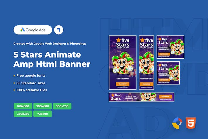 Thumbnail for 5 Stars Animate Ads Template AMPHTML Banners