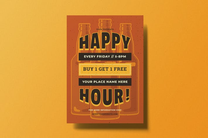 Thumbnail for Retro Happy Hour Flyer
