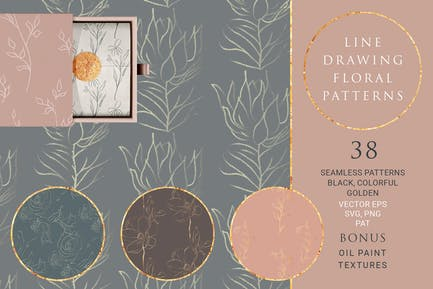 Line Drawing Floral Patterns ~ EPS, SVG, PAT, PNG