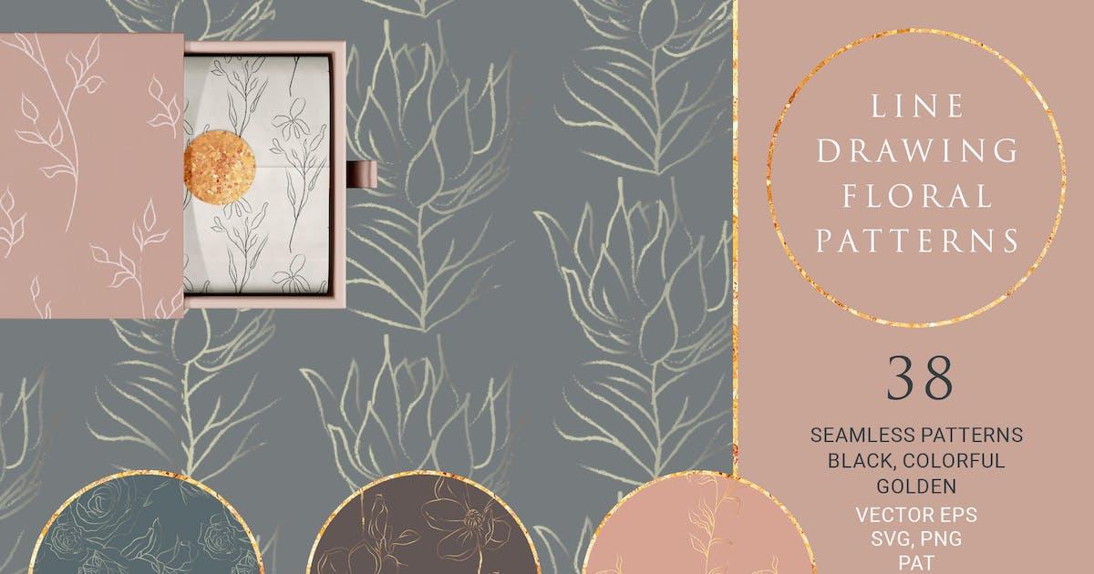 Download Line Drawing Floral Patterns ~ EPS, SVG, PAT, PNG by helga_helga
