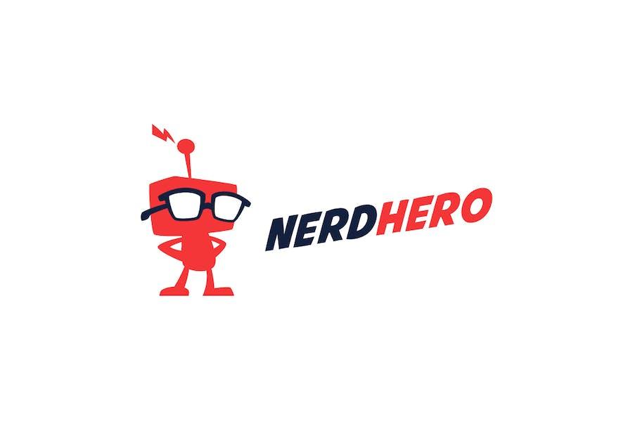 NerdHero - Nerd Retro Robot Logo