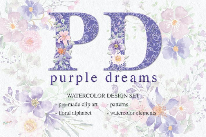 Thumbnail for Purple Dreams Watercolor Design Set