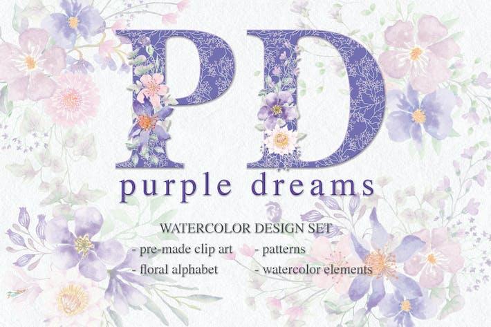 Thumbnail for Purple Dreams Watercolor Design Set