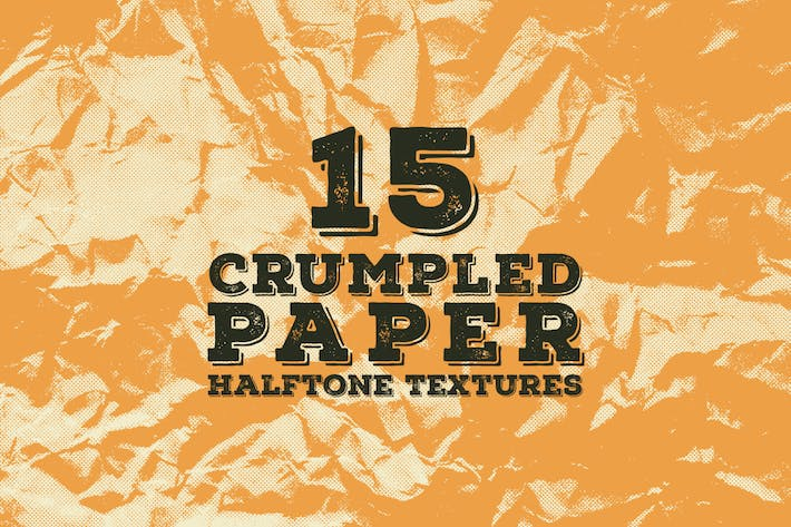 Cover Image For 15 Crumpled Paper Halftone Textures