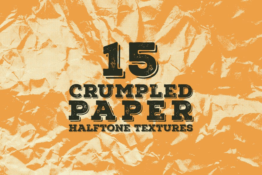 15 Crumpled Paper Halftone Textures