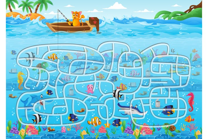 Thumbnail for Fishing Maze Puzzle Vector Game Illustration