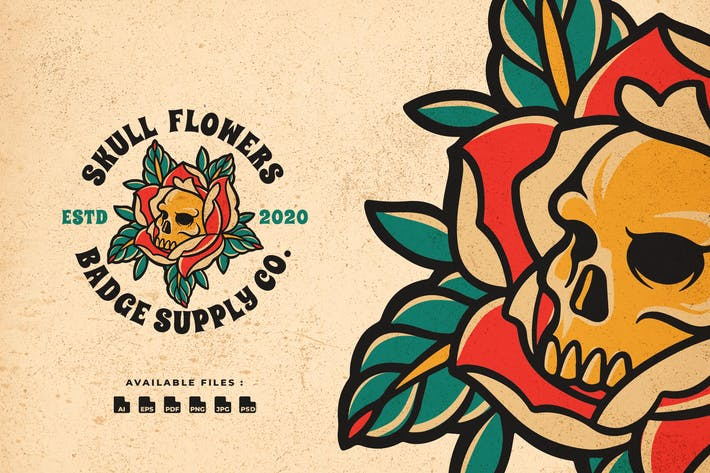 Thumbnail for Skull Flowers Badge Logo