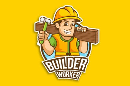 Professional Construction Worker Logo Vector