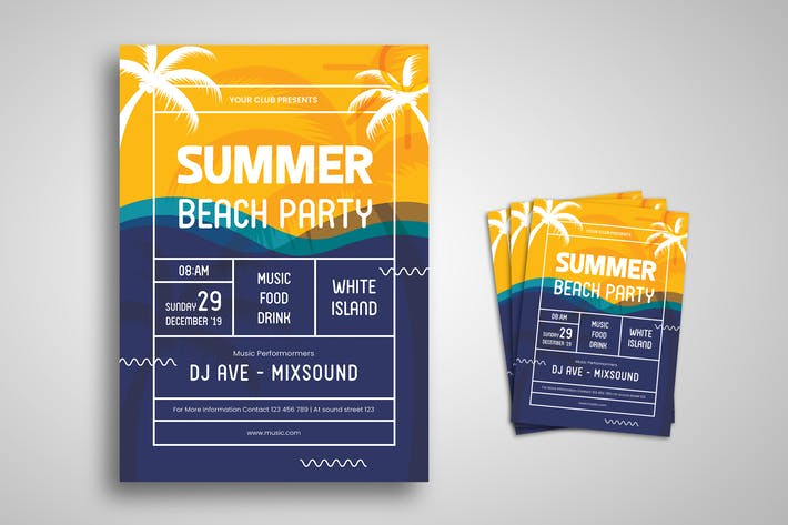 Thumbnail for Summer Beach Party Flyer Promo-Vorlage