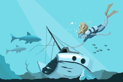 Wreckship Diving Vector Illustration