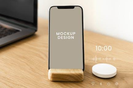 Smartphone screen mockup with smart speaker