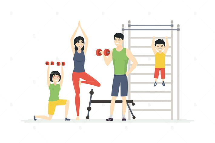 Thumbnail for Chinese family at the gym - colorful illustration