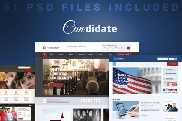Thumbnail for Candidate - Political/Charity/Church PSD Template